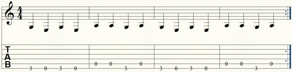 ejercicio de guitarra para principiantes 12