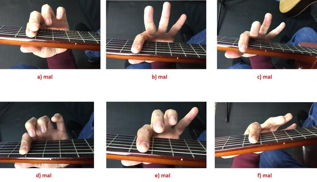 la cejilla en la guitarra posiciones incorrectas